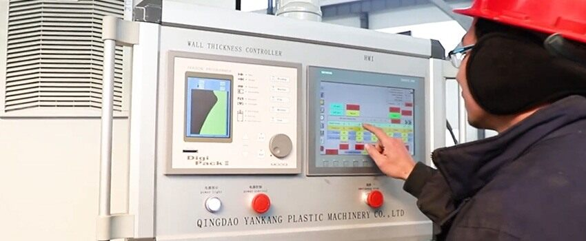 operator can input key data into the plastic blow moulding machine computer control system